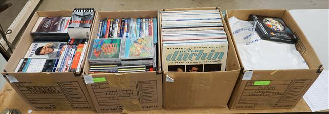 Four Boxes of Records, CDs and DVDs, and Table Linens