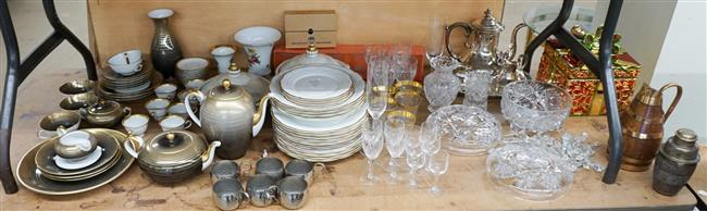 Group of Hutchenreuther Porcelain Partial Dinner Service, Cut Crystal Table Articles, Silverplate Four Piece Tea Set and other Articles