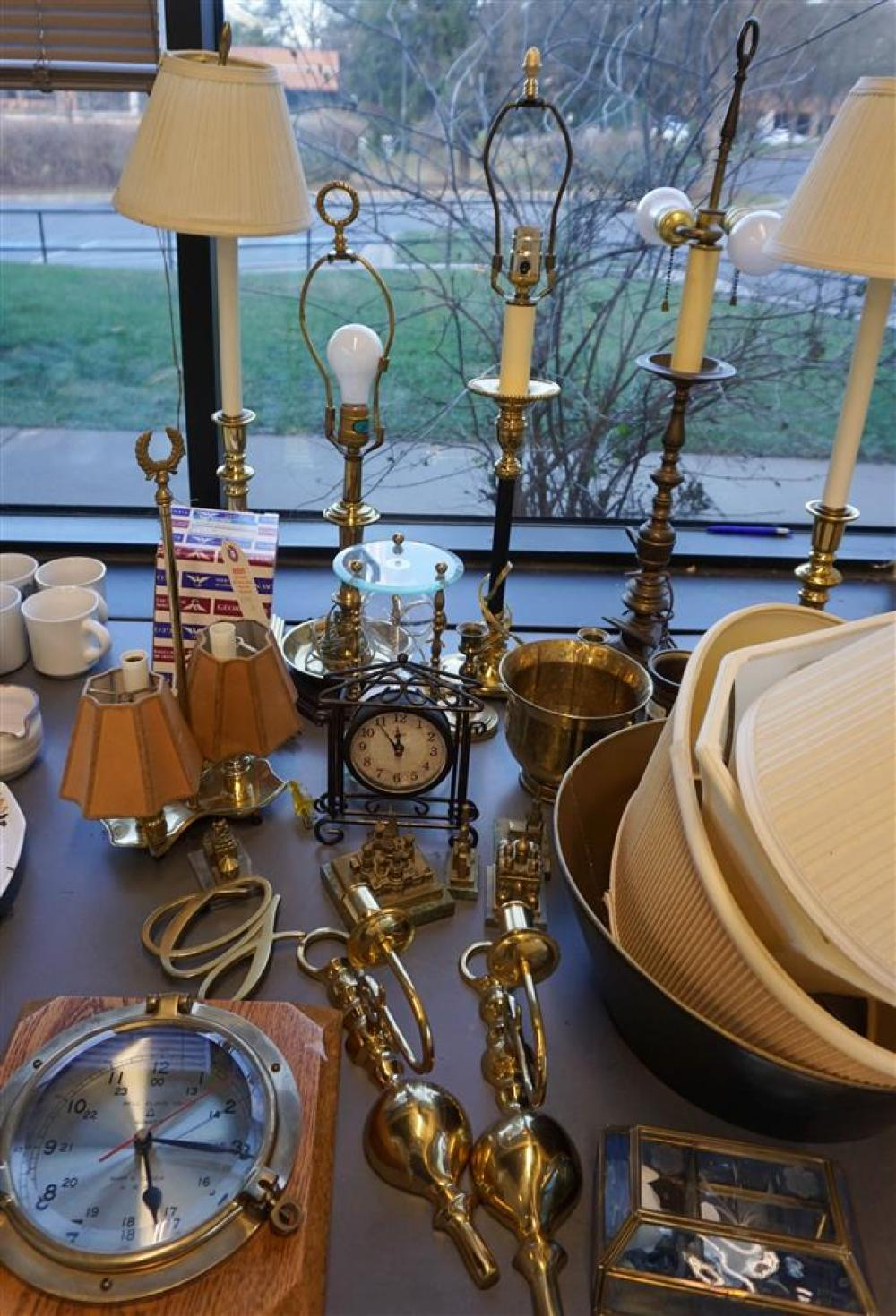 Group with mostly Brass Table and Cabinet Articles