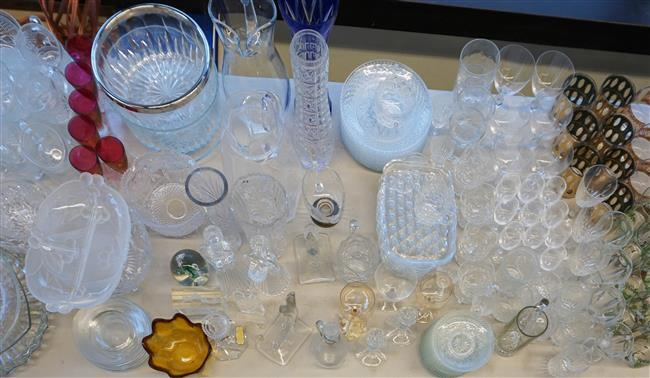 Collection with Glass Barware, Bowls and Trays