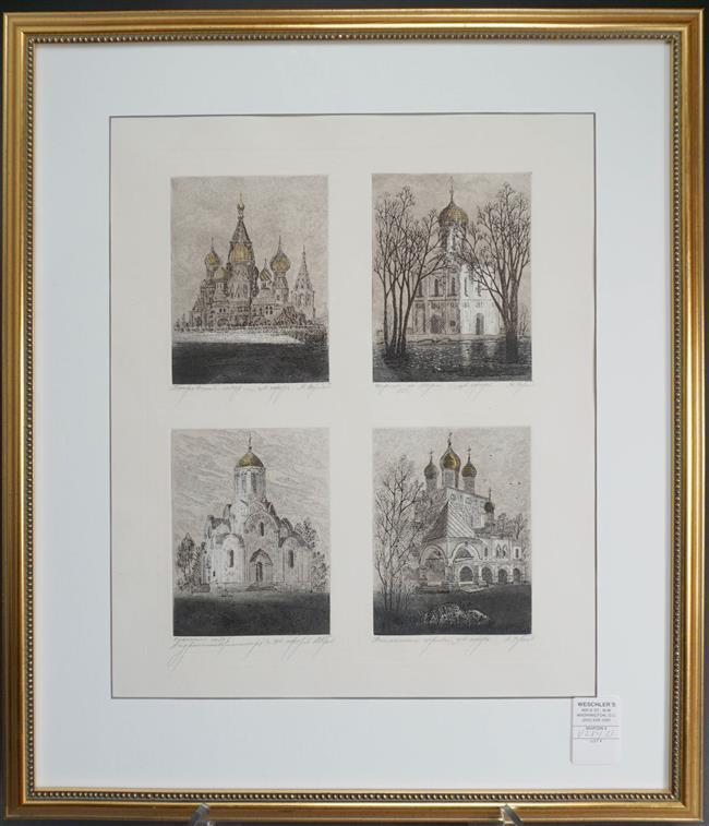 Four Russian Architectural Etchings (framed as one), Frame: 24-1/2 x 20-3/4 in