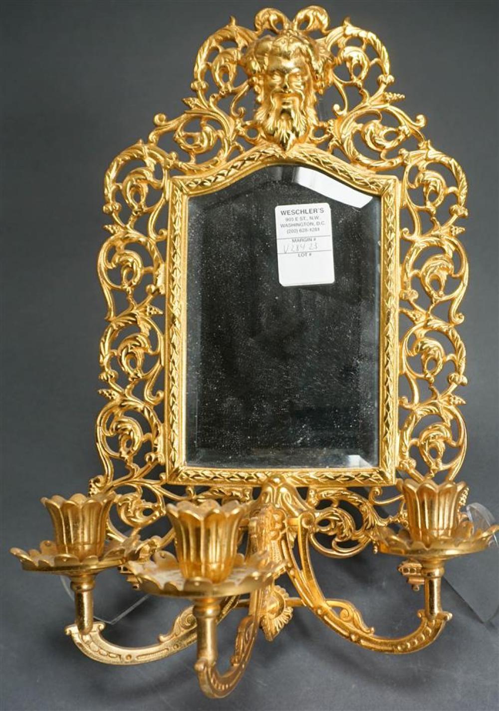 Bradley & Hubbard Gilt Iron Mirrored Three-Light Sconce