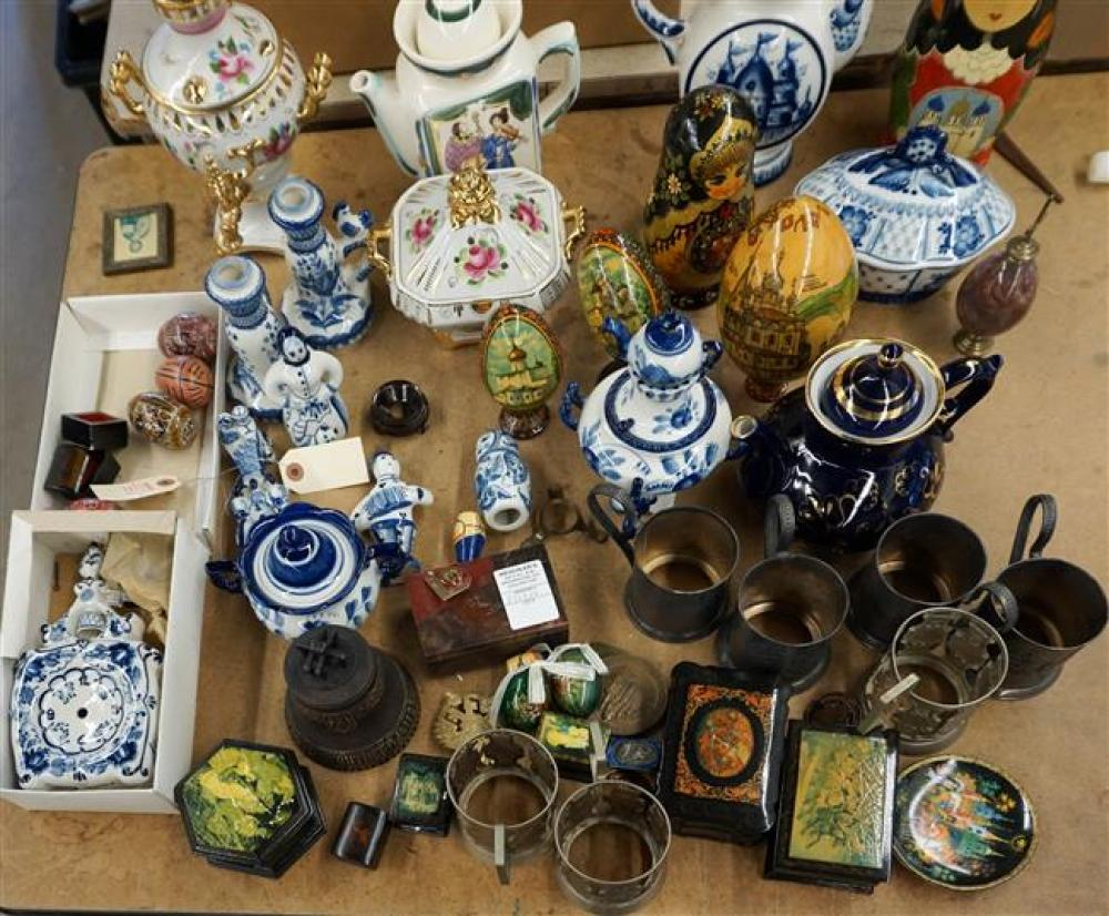 Collection with Eastern Europe (mostly Russian) Porcelain, Wood and Silver Plate Table and Cabinet Articles