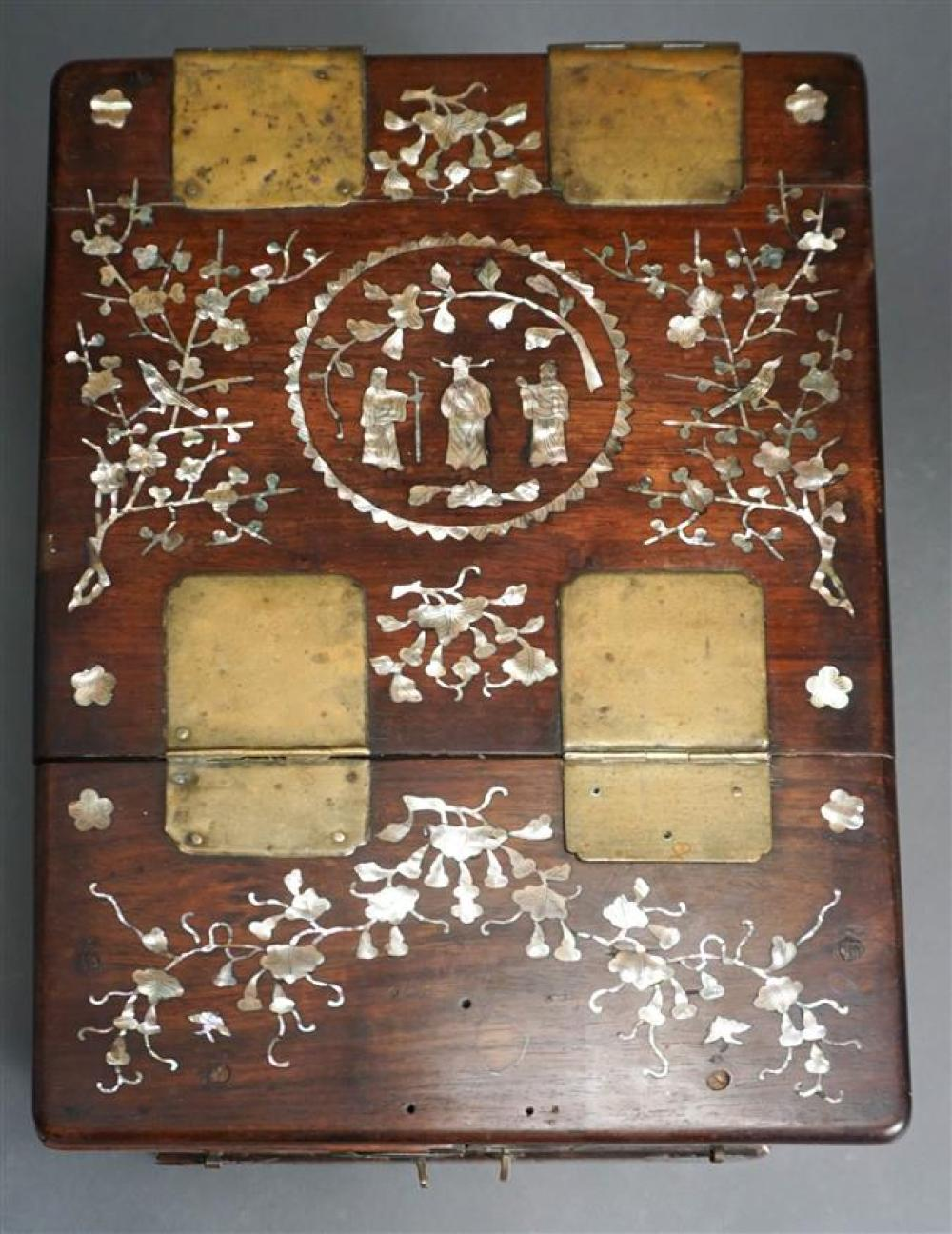Chinese Mother of Pearl Inlaid Rosewood Jewelry Box; 8.5 x 11.25 x 15.75 HWD Inches