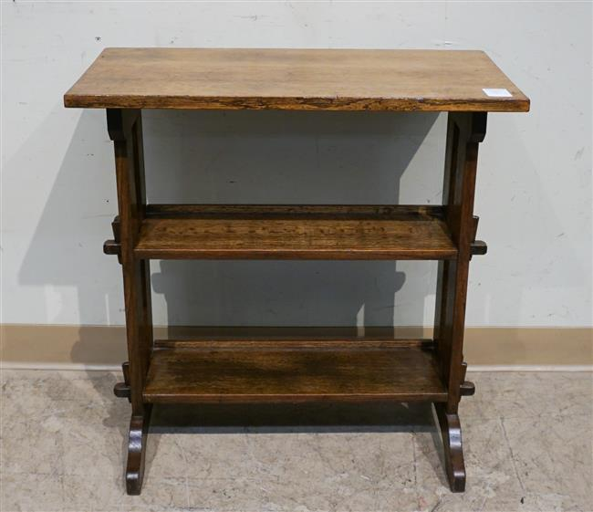 Roycroft Oak Three Tier Side Table with Applied Label, Height: 26-1/2 in, Width: 26 in, Depth: 14 in