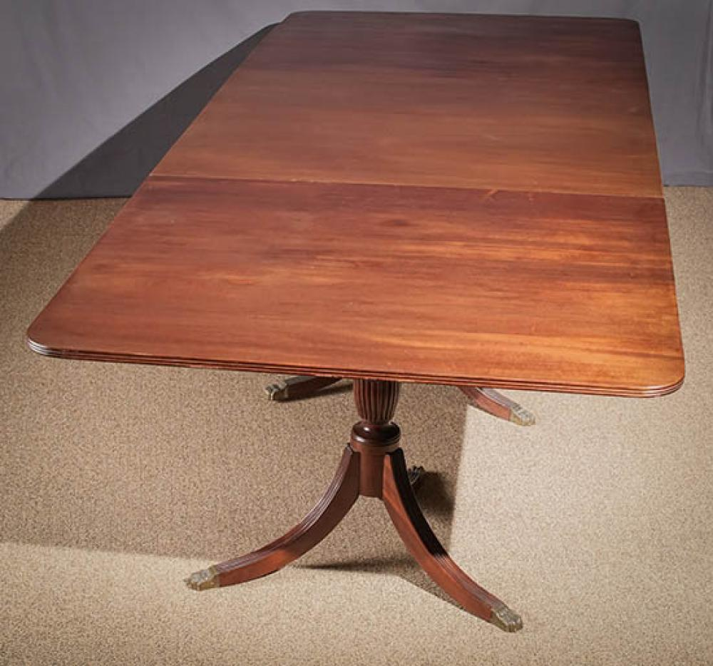 Regency Style Mahogany Three-Part Pedestal Dining Table; 30 x 128.5 x 50.25 HWD Inches including leaves