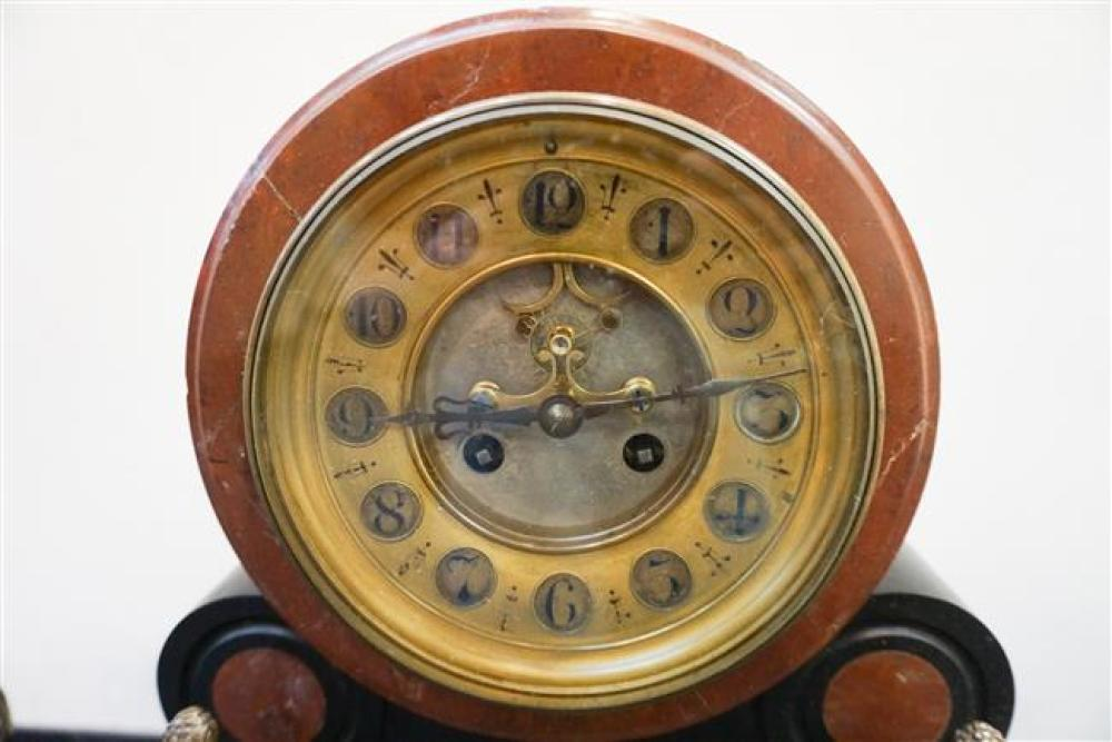 Victorian Renaissance Revival Slate, Brass and Red Marble Three Piece Clock Garniture