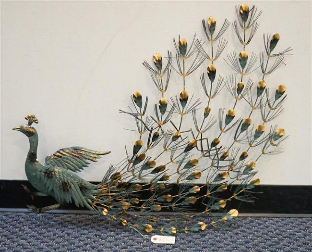 Pair of Gilt Decorated Green Painted Sheet Metal Figures of Peacocks; Approximately 35 Inches in Height and 29 Inches in Width