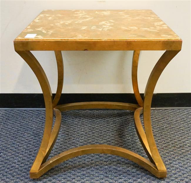 Barbara Barry for Baker Furniture Gilt Iron Base and Decorated Top Side Table; 26.25 x 24 x 24 Inches
