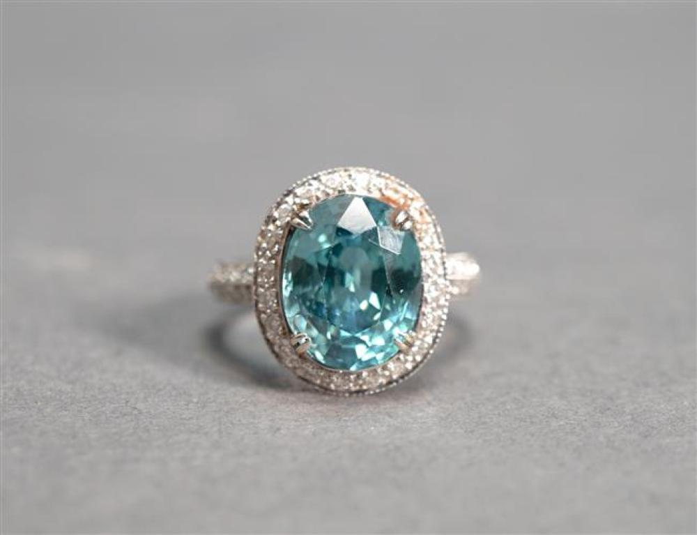 18-Karat White-Gold, Blue Zircon and Diamond Ring, Zircon approx 6 carats, 4.7 dwt, Size: 6-3/4