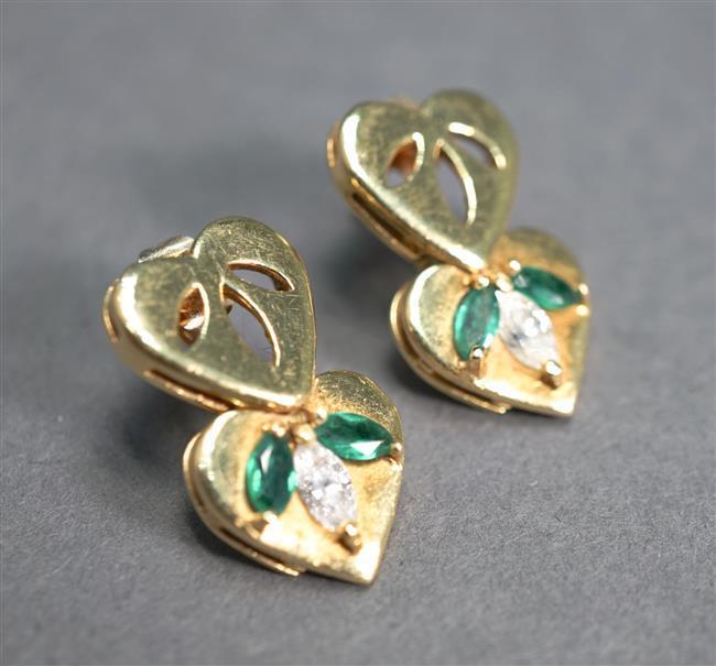 Pair of 18-Karat Yellow-Gold, Diamond and Emerald Pierced Earrings, 5.4 gross dwt, Length: 7/8 in