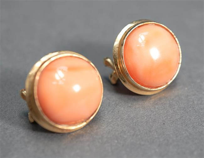 Pair of 14-Karat Yellow-Gold and Coral Pierced Earrings, 3.8 gross dwt, Diameter: 1/2 in