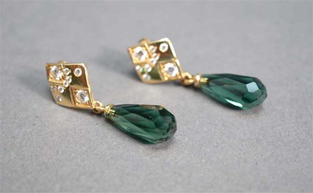Pair of 14-Karat Yellow-Gold, Diamond and Briolette Faceted Green Tourmaline Pierced Pendant Earrings, 3.2 gross dwt, L: 1-1/4 in