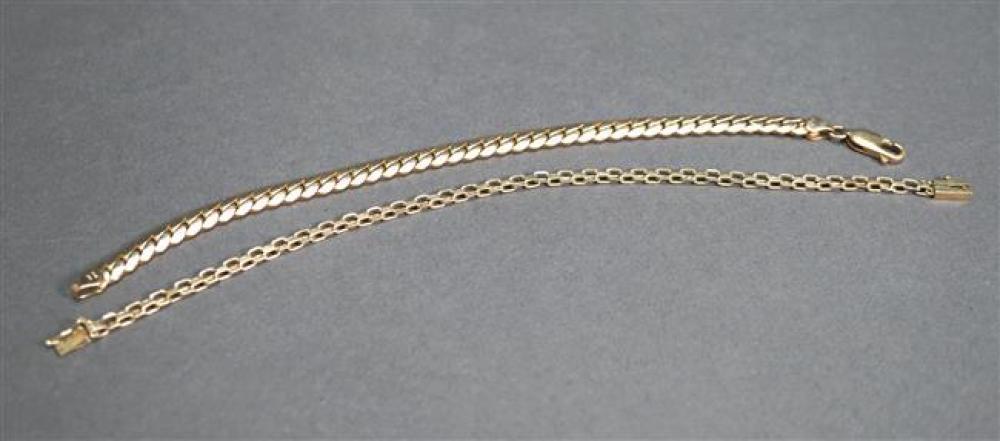 Two 14-Karat Yellow-Gold Bracelets, 7.3 dwt