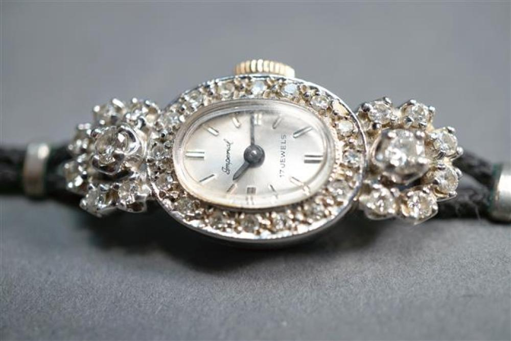 Nicolet Watch Co for Imperial Ladies 14-Karat White-Gold and Diamond Manual Wind Wristwatch