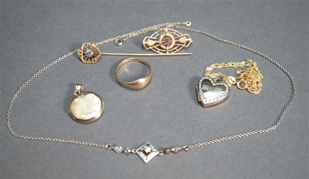 Collection of 10-Karat and 14-Karat Gold Jewelry, 8.1 gross dwt