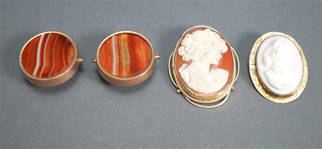 14-Karat Yellow-Gold and Shell Cameo Pendant Brooch, a 10-Karat Yellow-Gold and Coral Cameo Brooch and a Pair of Onyx Dress Studs