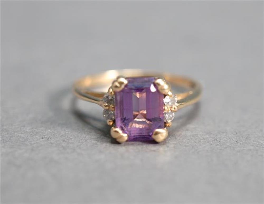 Tested 14-Karat Yellow-Gold, Amethyst and Diamond Ring, Amethyst approx 1.35 carats, Size: 6