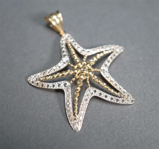 14-Karat Yellow-White Gold 'Starfish' Pendant, 2.1 dwt, Length: 1-3/4 in