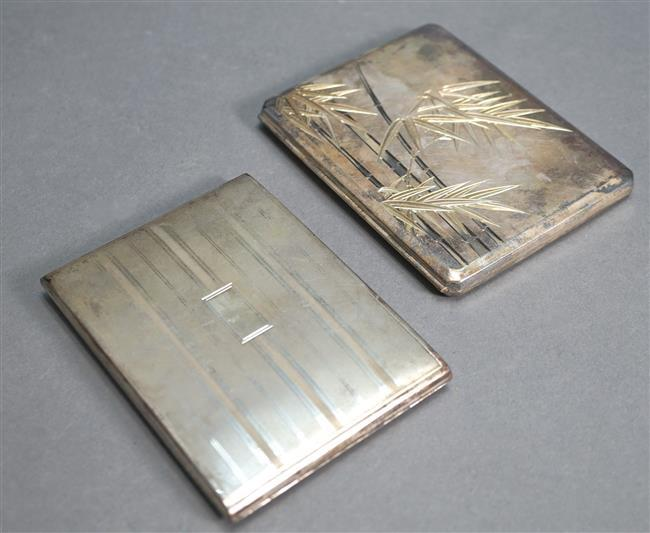 Japanese 950-Silver Cigarette Case and a Reed and Barton Sterling Cigarette Case, 8 oz