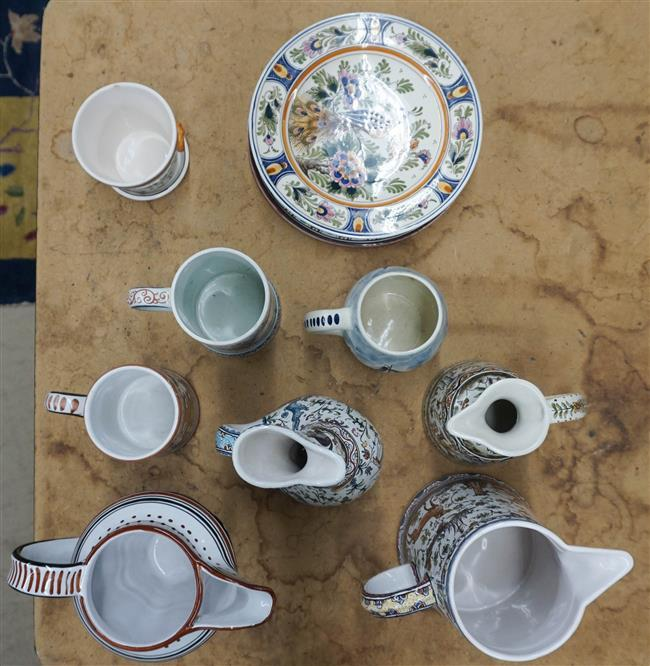 Group with Portuguese, Sienna and Delft Faience and Majolica Table Articles