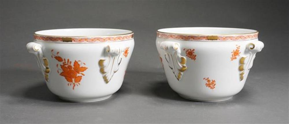 Pair of Herend 'Chinese Rust Bouquet' Pattern Jardinieres, Approximately 5 H x 9.25 D