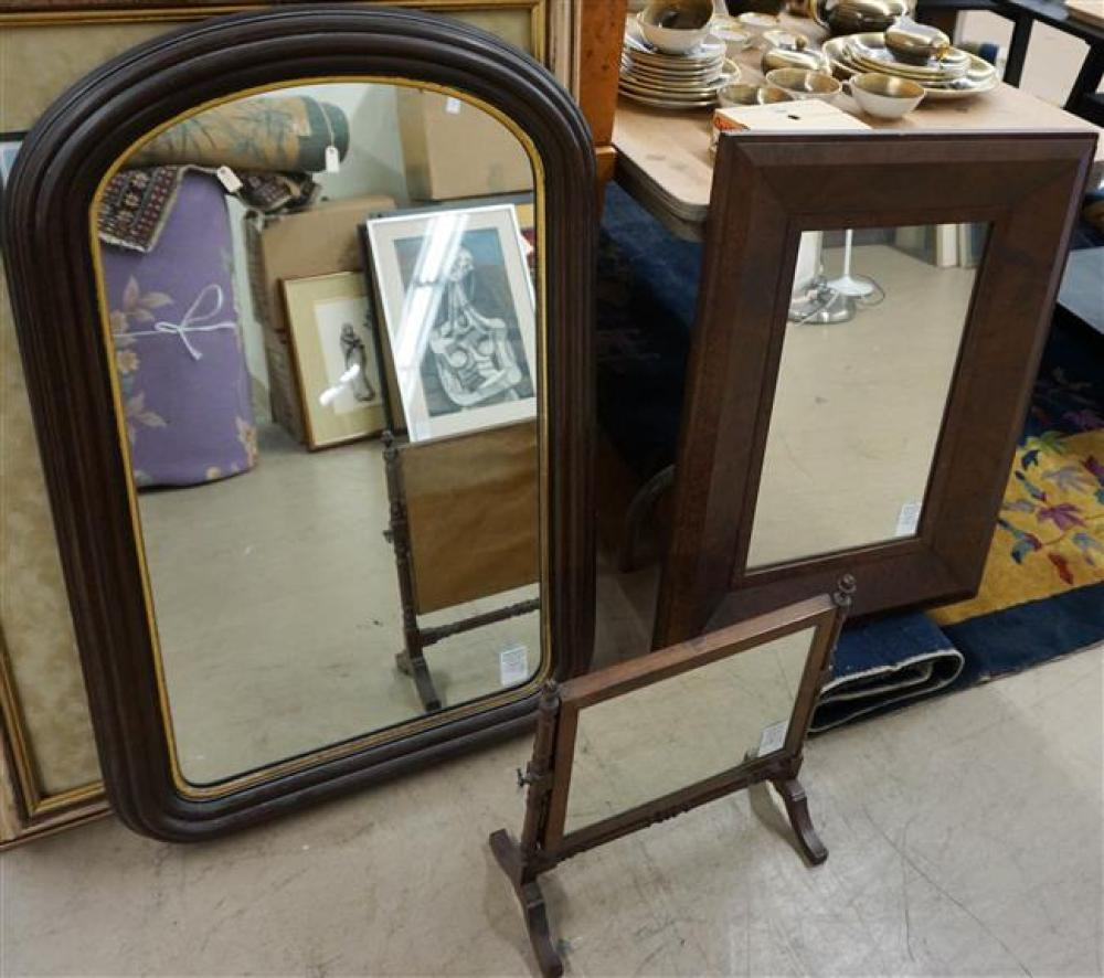 Classical Mahogany Mirror, Victorian Walnut Mirror and Federal Style Mahogany Chest Mirror; Overal Height of Largest 37.5 x 23.25