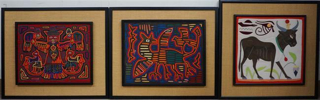 Two Mexican Embroidered Molas and Egyptian Pieced Cotton Picture of Bull