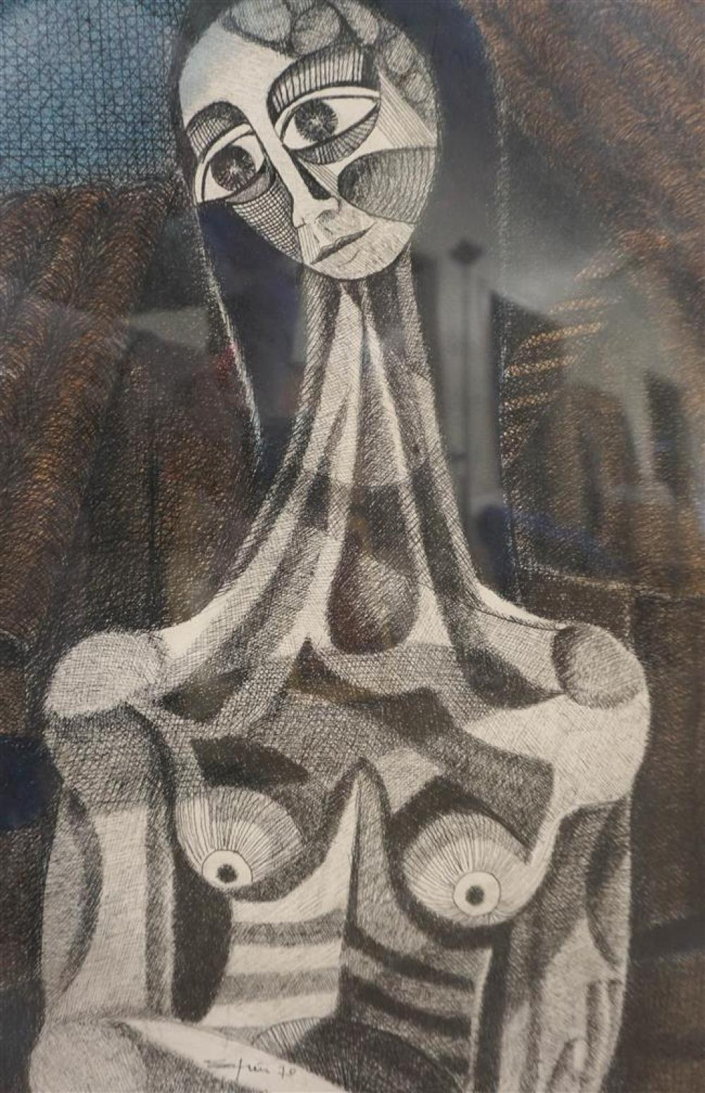 Etienne Ret, Figure, Etching in Color, Framed, 27 x 18 inches