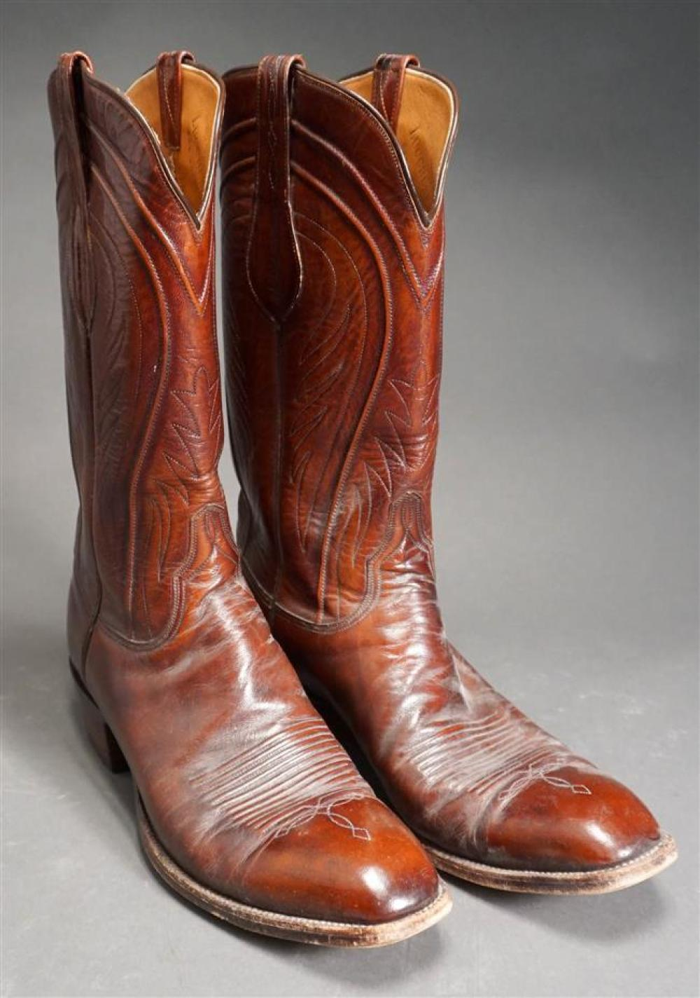 Pair Lucchese Leather Riding Boots, Size 12A