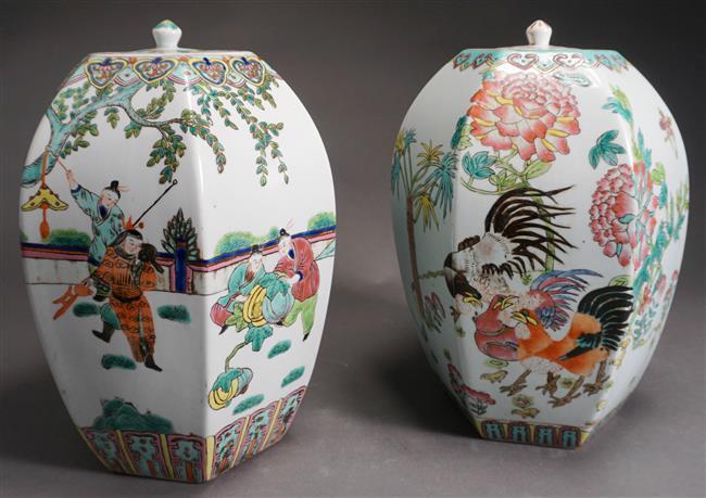 Pair Chinese Famille Rose Hexagonal Vases, Height: 13-1/2 in