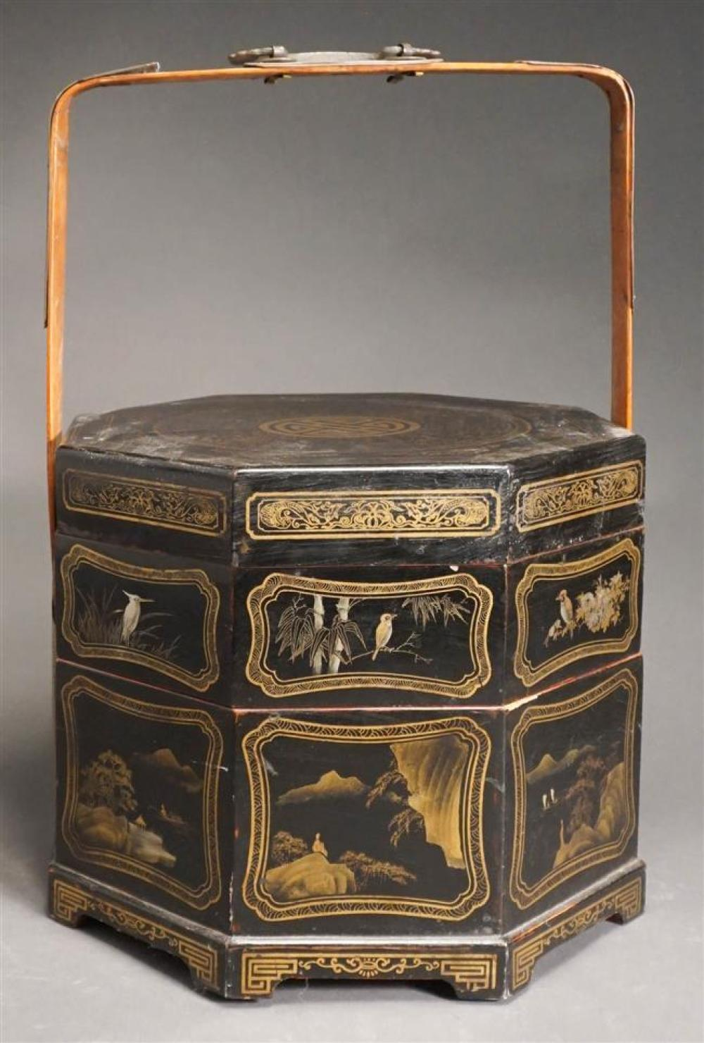 Chinese Gilt Decorated Black lacquer Storage Box; 8.5 x 11.5 x 11.5 HWD Inches