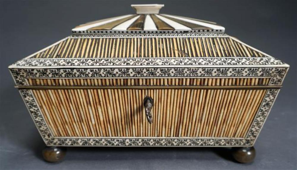 """Anglo-Indian Porcupine Quill and Scrimshaw Bone Hinged Sarcophagus Form Sewing Box, 19th Century; Measured Dims 6 x 8.5 x 6.75 HWD"""""""