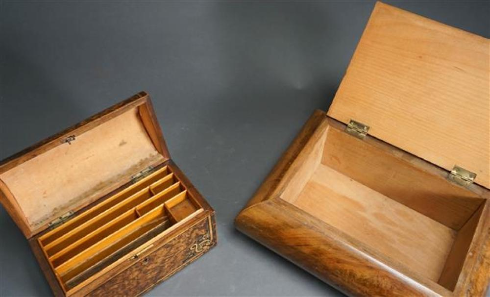 Burlwood Hinged Document Box and Burlwood Covered Box; Larger 5.5 x 13 x 9.75 Inches