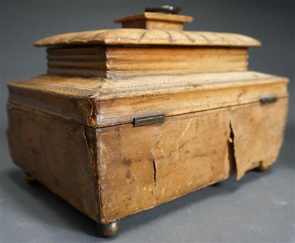 Collection with Four 19th-20th Century Hinged Boxes (some with losses); largest: 7 x 10 x 7 HWD inches