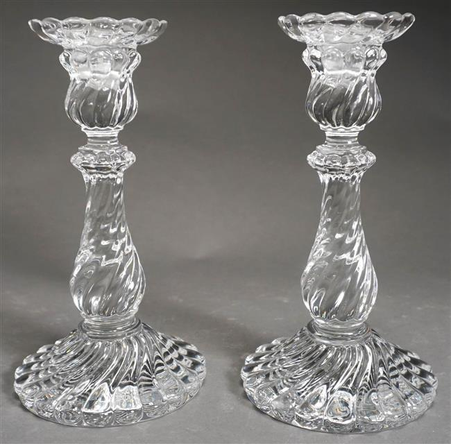 Pair Baccarat Spiral Molded Glass Candlesticks, Approximate Height 9 Inches
