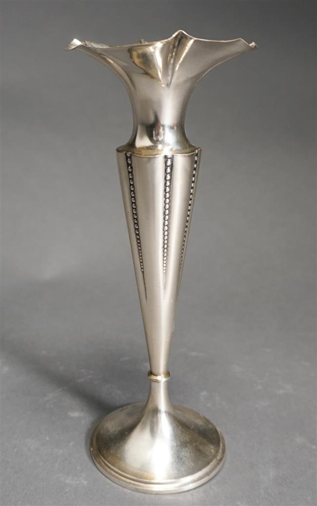 German 800-Silver Bud Vase, Approximate Measured Weight: 1.95 ozt, 7 3/8 Measured Height