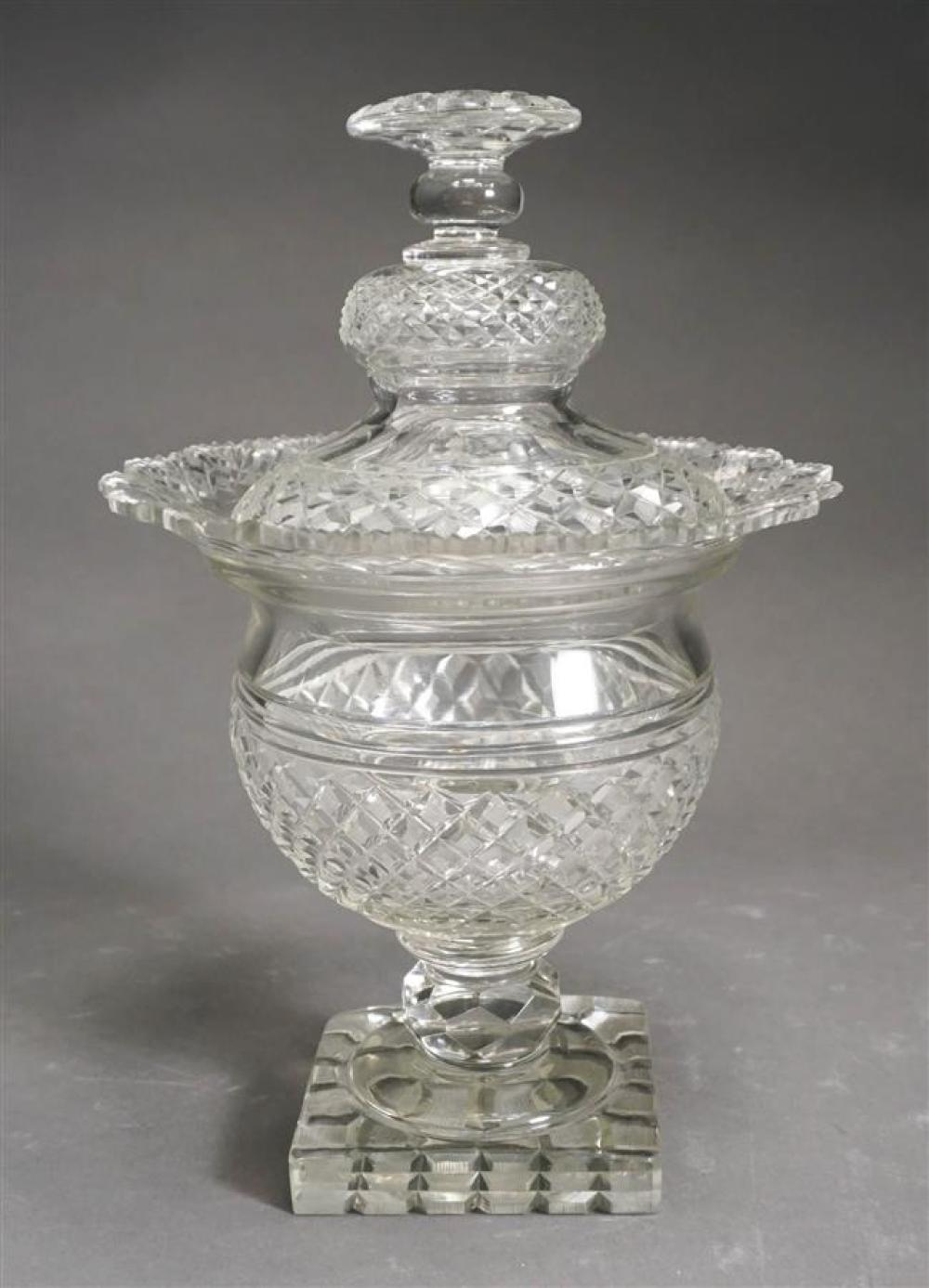 Anglo-Irish Cut Crystal Covered Compote, 19th Century (damaged with repairs); Overall Height 12 Inches