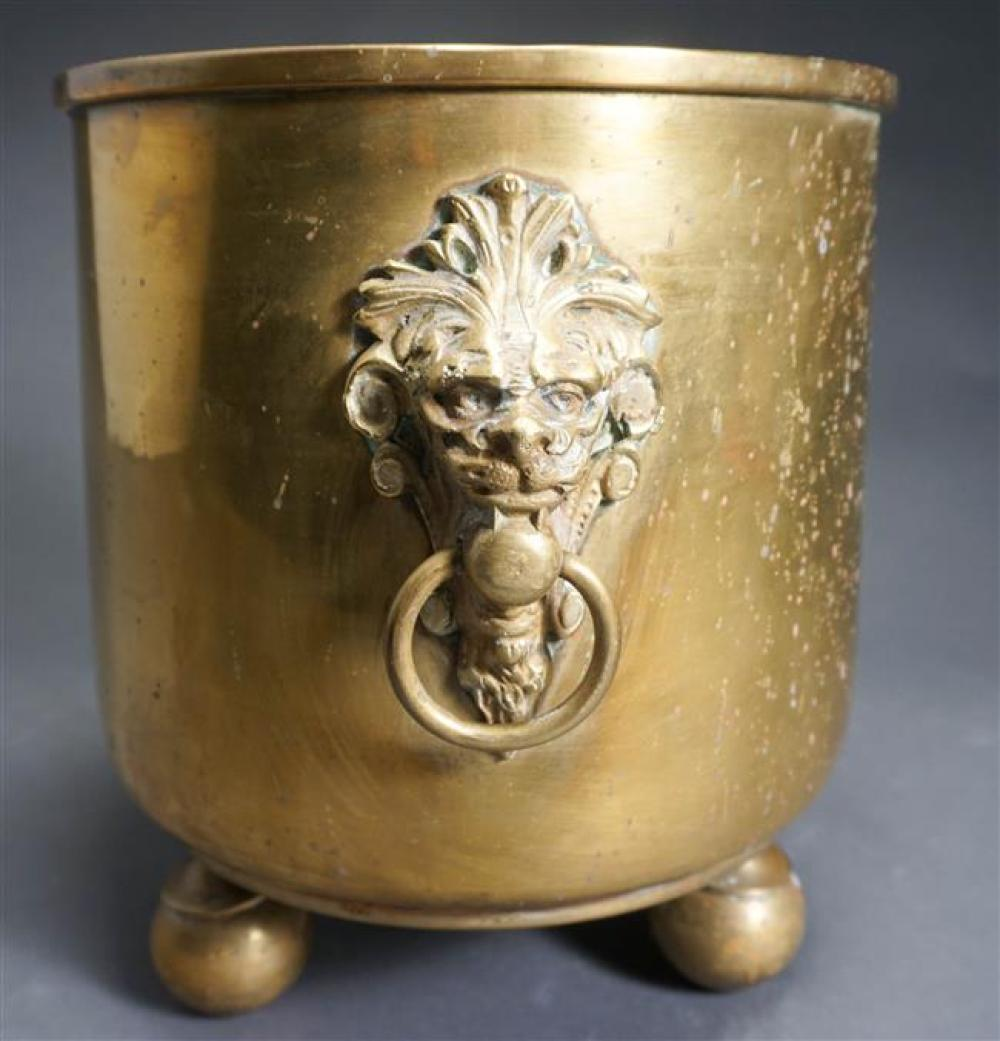 Brass Jardiniere with Lion Mask Handles; Overall Height 11.25 x 10.5 Diameter Inches