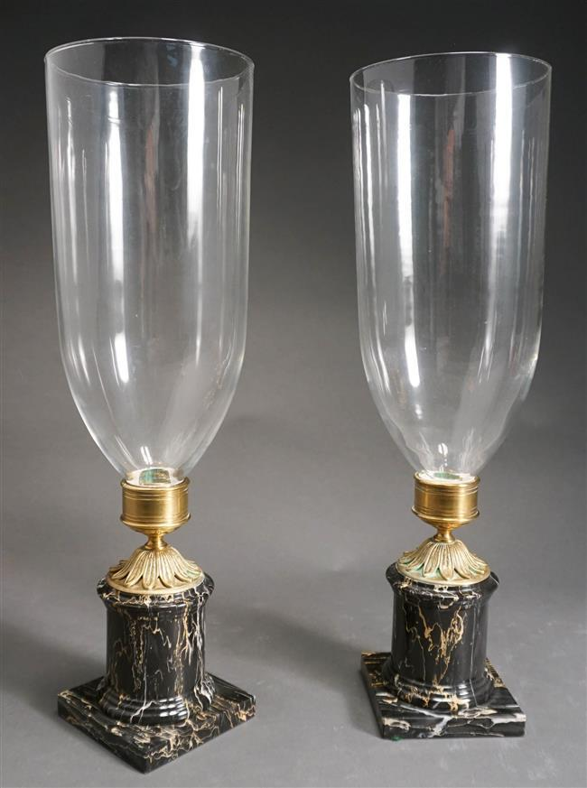 Neoclassical Style Marble and Gilt Brass Base Candleholder with Glass Shade; Overall Height 19.75 Inches