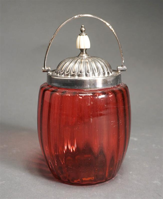 Victorian Silver Plate Mounted Cranberry Glass Biscuit Jar, Overall Height 7 5/8 Inches