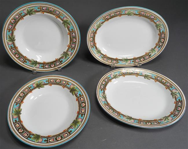 Pair Wedgwood Argyle Rimmed Bowls and Pair Oval Platters
