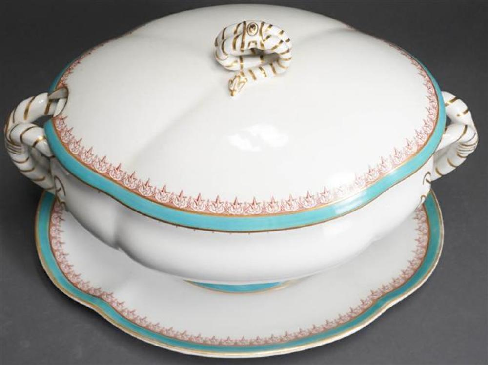 European Porcelain Covered Tureen with Undertray