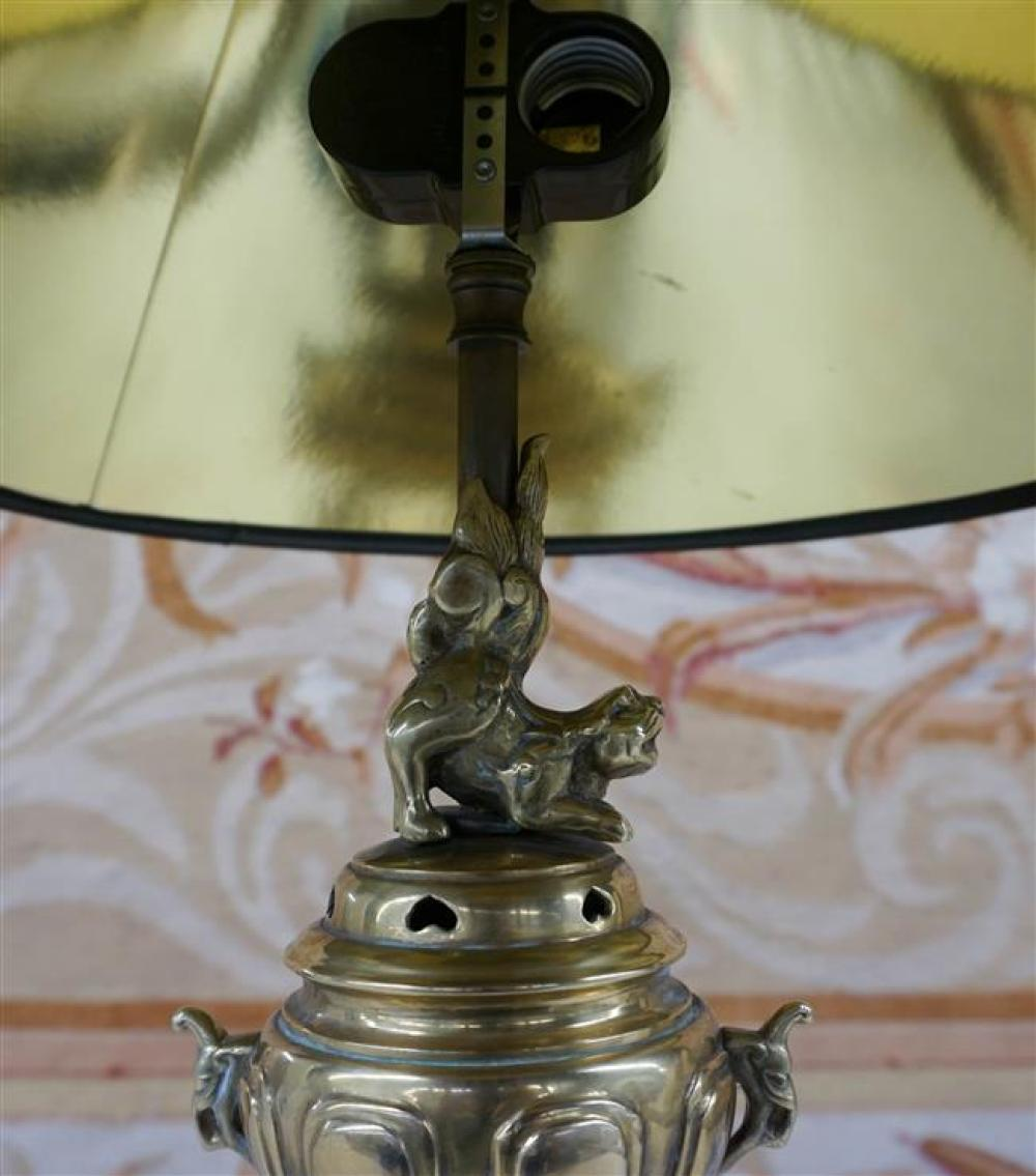 Japanese Brass Koro mounted as Lamp, Height overall: 22-1/2 in