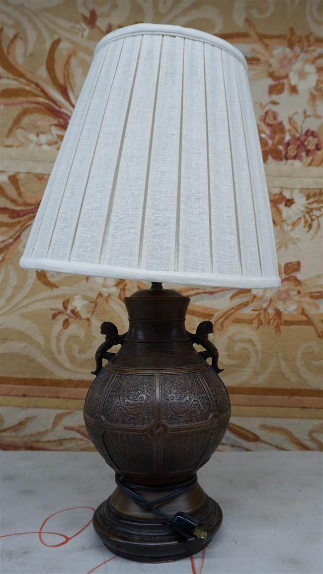 Chinese Patinated Metal Vase mounted as Lamp, Height Overall: 28 in
