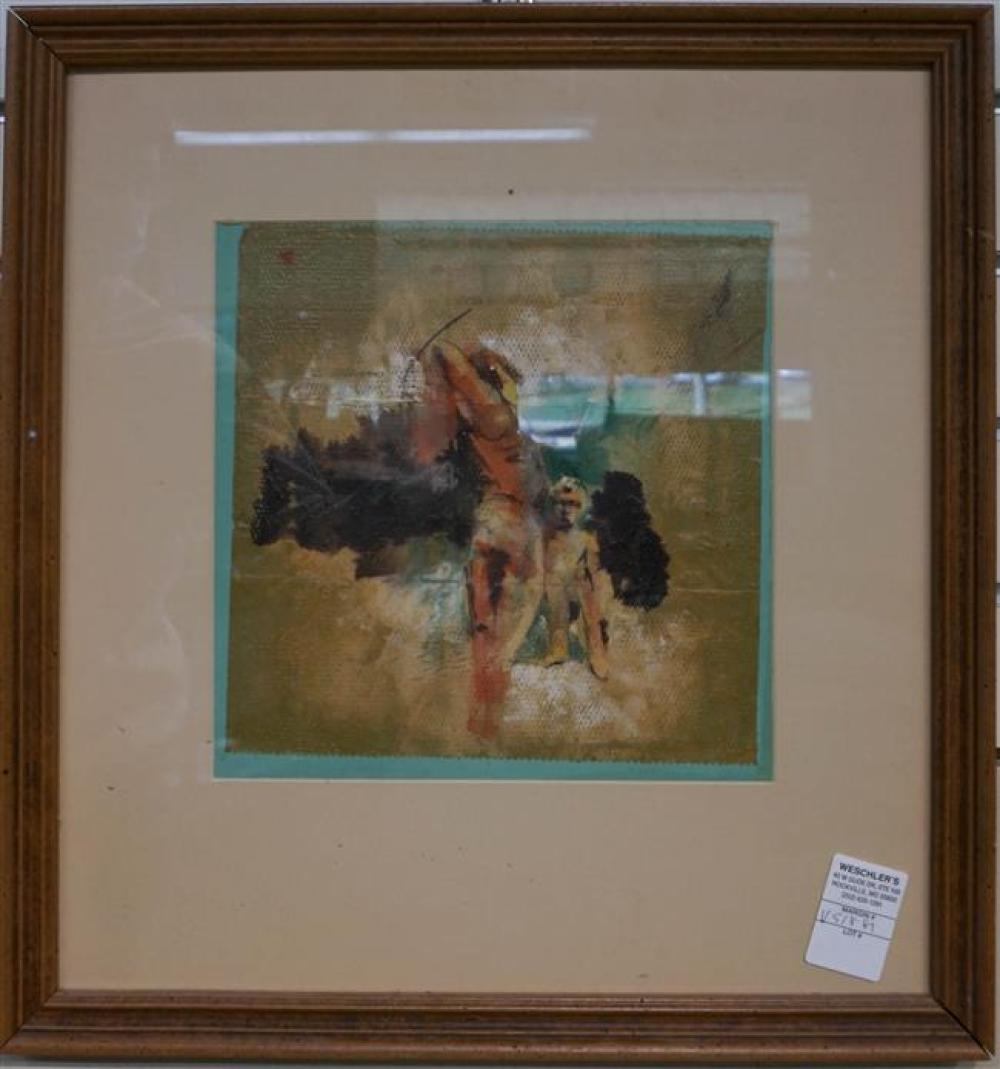 20th Century School, Two Figures, Oil on Paper, Frame: 18-1/2 x 17-1/2 in