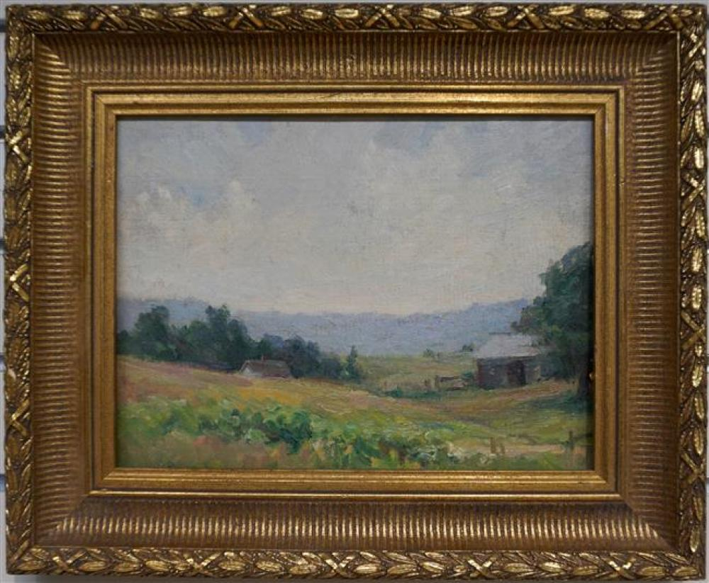 American School, 20th Century, Landscape and View of Church, Pair Oils on Board; Largest 13.25 x 16 Inches