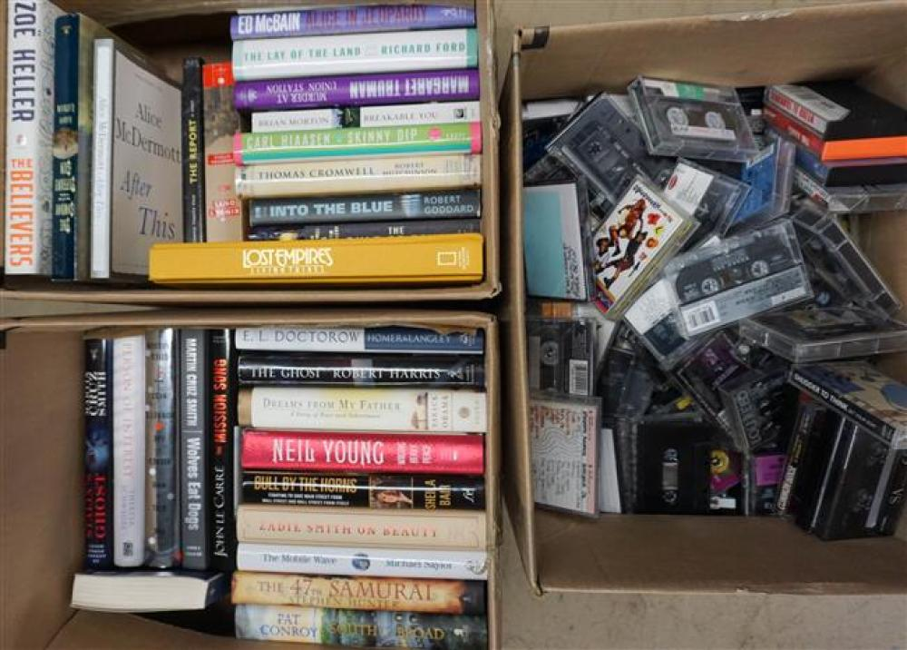 Two Boxes with Novels and Box with Cassette Tapes
