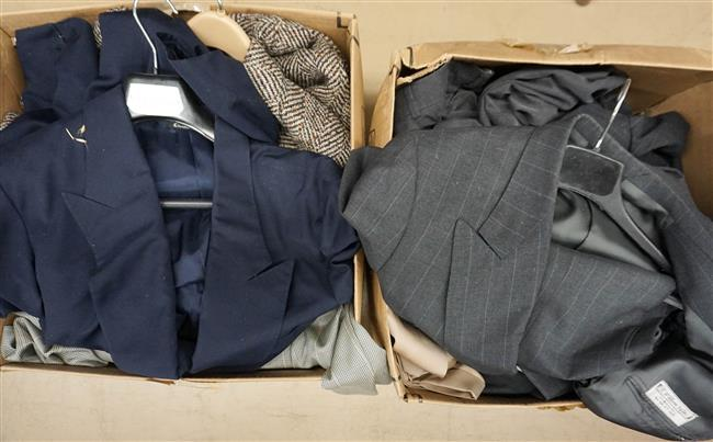 Two Boxes with Men's Suits (many custom made by Y. William Yu, NY)