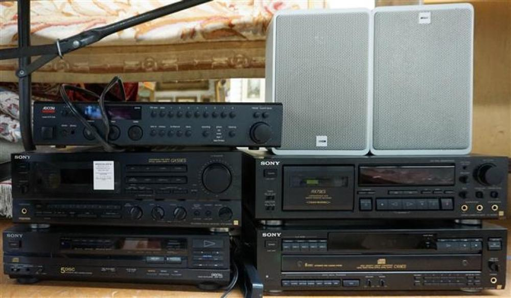 Sony GX59ES Receiver, Two Five-Disc CD Players, Cassette, Adcom Pre-Amp and Pair Canton Speakers